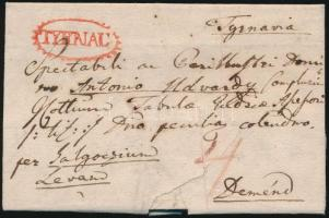 1821 Portós levél teljes tartalommal / Unpaid cover with full content piros/red TYRNAU