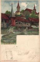 1899 Lucerne, Luzern; Spreuerbrücke / bridge litho s: K. Russdolf