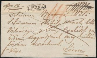 1842 Ajánlott tértivevényes teljes levél / Registered cover with recorded delivery LISZKA - Lőcse
