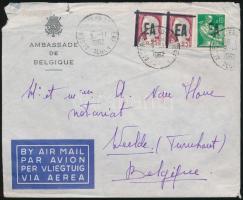 Airmail cover to Belgium with overprinted stamps, Független Algéria, légi levél Belgiumba felülnyomott bélyegekkel