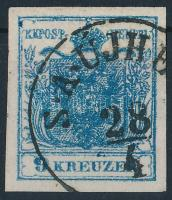 9kr HP IIIb dark blue, overinked piece
