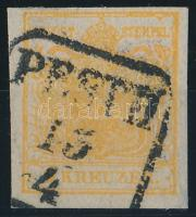 1kr HP III. yellow orange, overinked piece