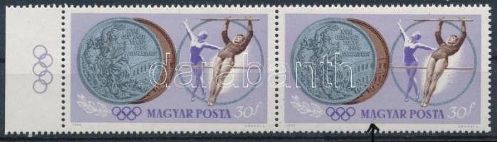 1964 Olimpiai érmesek 30f ívszéli pár, lila folt az A betű alatt