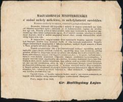 1848 május 19. ,,Magyarország ministerelnöke a szabad székely székekhez, és székelyhatárőri ezredekhez. Pest, 1848. ny. n. [Landerer és Heckenast ny.] Batthyány Lajos felhívása a székelységhez, melyben a haza védelmében fegyverbe szólítja őket. 25x20 cm Hajtásnyomokkal