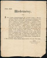 1848 november 19. A Marosvásárhelyi Városi Tanács 4733-1848 sz. hirdetménye, amelyben gyülekezési tilalmat rendel el a Felségéhez hű polgárok számára. Antal Ferenc helyettes jegyző kiadmánya. 20x25 cm