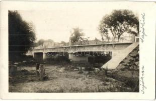 1935 Sajóháza, Nadabula (Rozsnyó, Roznava); Sajó folyó hídja, gőzgép a hídon / bridge, steam engine. photo (EK)