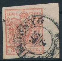 1850 3kr HP II.a kármin rózsaszín, 7,5 mm jobb oldali ívszéllel ,,ROZSNYÓ Certificate: Steiner