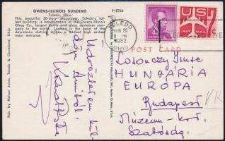 1962 Kozma István (1939-1970) olimpiai bajnok birkózó aláírása Amerikából hazaküldött képeslapon
