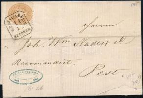 15kr on registered cover, a stamp missing from backside