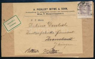 ~1890 Újságcímzés Bécsből Brassóba, ismeretlen jelzéssel visszaküldve, ~1890 Newspaper address label to Kronstadt, returned