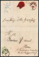 "~1864 1863 3kr + 1864 mixed franking on local cover ""PESTH"", ~1864 1863 3kr + 1864 5kr vegyes bérmentesítésű helyi levélen ""PESTH"""