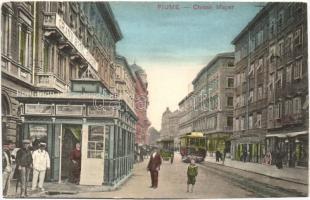 Fiume, Chiosk Mayer, Grand Hotel Europe, chariot of Hotel Quarnero, tram. W.L. Bp. 3875-1910.