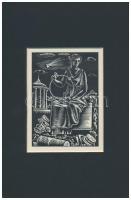 Molnár C. Pál (1894-1981): Antik életkép, fametszet, papír, jelzés nélkül, paszpartuban, 13×9,5 cm