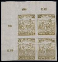 1924 Arató-Parlament 600K VÁGOTT!! ívsarki négyestömb, benne tévnyomat 600/800K. Mivel az időszak vágott bélyegei rendkívül kis példányszámban jelentek meg, a múzeumi példányon kívül valószínüleg ez az EGYETLEN ilyen darab létezik. Nagy ritkaság!! / Mi 395 IMPERFORATE!! corner block of 4 including error 800 for 600 Major error, extremely rare, maybe UNIQUE piece!! Certificate: Visnyovszki, Glatz
