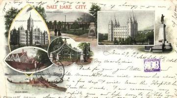 1899 Salt Lake City (Utah), Mormon Tabernacle and temple, City and county building, Lion House, Saltair beach, Eagle gate. Art Nouveau (18 cm x 10 cm) (EK)