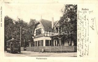 1904 Aachen, Waldschenke / villa with tram (EK)