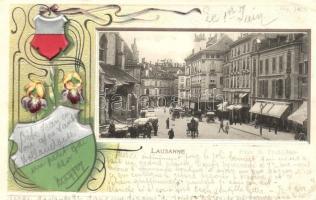 Lausanne, street view. Coat of arms, Art Nouveau, floral, Emb. litho (EK)