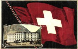 Andermatt, Kaserne / military barracks. Swiss flag. Carl Künzli 1837.