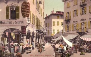 Lugano, Une Rue, Manifatture & Sartoria, Figli & Gion Fumagalli, Coiffeur / street view with market vendors and shops