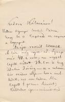 1886 VÉDETT! Arany László (1844-1898) tragikus levele sógorának, Szél Kálmán nagyszalontai esperesnek, melyben hírt ad haldokló lánya, Szél Piroska (1865-1886) állapotáról. 2 beírt oldal. Borítékkal