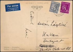 Lukács László (1914-1991) sportújságíró saját kézzel írt képeslapja