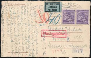 Böhmen und Mähren, Airmail postcard to Vienna with postage due, Böhmen und Mähren, Portós légi képeslap Bécsbe