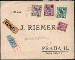 1930 Expressz légi levél / Express airmail cover BRATISLAVA - PRAHA