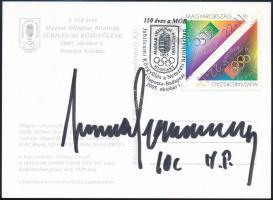 Juan Antonio Samaranch NOB elnök aláírása olimpiai képeslapon /  Signature of Juan Antonio Samaranch president of the Olympic Comitte