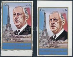 Charles de Gaulle perforated and imperforated block, Charles de Gaulle fogazott és vágott blokk