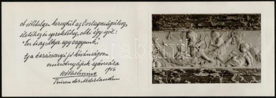 1956 I. Vilma (1880-1962), korábbi holland királynő (ur. 1890-1948) magyar nyelvű karácsonyi jókívánsága Őri József részére overasselti pékségbe megküldve, borítékkal, a borítékon Jeannette Geldens (1902-1999), Vilma személyi titkárnőjének aláírásával