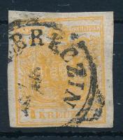 1850 1kr HP III narancs quadrilliertes Papier ,,(DE)BRECZIN (pici szakadás felül) Certificate: Steiner