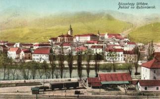 Rózsahegy, Ruzomberok (Liptó); látkép, vasútállomás, vagonok / general view, railway station, wagons