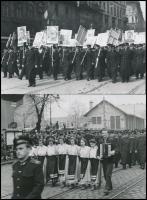 1954-1955 Budapest, Május elsejei felvonulás, 2 db későbbi előhívás, 12×18 cm