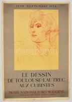 1954 Toulouse Lautrec kiállítási plakát. Ragasztott beszakadással 50x70 cm