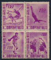 1947 Nemzetközi sportünnep négyestömb Mi 384-387