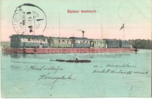 Gombos, Bogojeva, Bogojevo; Gőzkomp Gombos és Erdőd között a szabad Dunán. Tippl Józsefné 80. / Bogojevo-Erdut steam ferry with freight train, locomotive (EK)