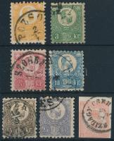 1871 Réznyomat sor + Hírlapbélyeg (10kr, 25kr ablakos / thin paper, 15kr sarokhiba / corner fault)