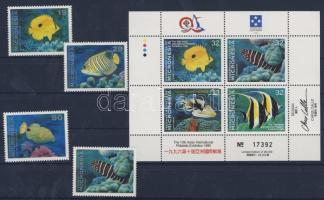1993/1996 TAIPEI´96 bélyegkiállítás, halak Mi 273-276+522-525