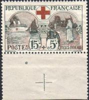 1918 Vöröskereszt ívszéli bélyeg Mi 136