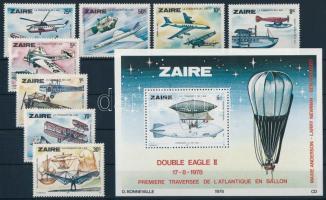 1978 A légi közlekedés fejlődése sor Mi 580-587 + blokk Mi 22