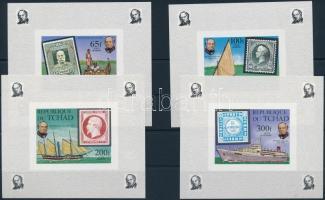 Rowland Hill: ships, stamp on stamp imperforated block set, Rowland Hill: hajók, bélyeg a bélyegen vágott blokksor