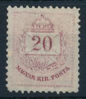 1874 Színesszámú 20kr Zárday féle próbanyomat vörösibolya színben
