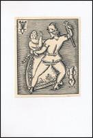 Kozma Lajos (1884-1948): Menyasszonytánc, fametszet, papír, jelzett a fametszeten, kartonra ragasztva, 13×11 cm