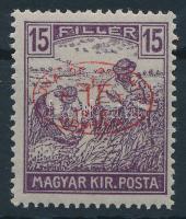 Debrecen I. 1919 Arató 15f piros felülnyomással, garancia nélkül (30.000)