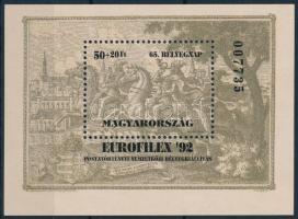 1992 Bélyegnap (65.) - Eurofilex ajándék blokk (18.000)