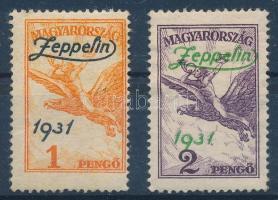 1931 Zeppelin pár (24.000) mindkét bélyeg papírránccal / both stamps with paper crease