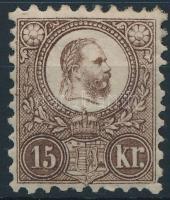 1871 Réznyomat 15kr eredeti, javított gumival, falcos (120.000) / with original, repaired gum, hinged