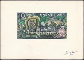 1974 Albert Schweitzer 10Ft bélyegterve Légrády Sándor eredeti aláírásával (képméret 170x90 mm)