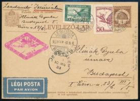 1933 Légi díjkiegészített díjjegyes levelezőlap Gerle Földközi-tengeri körrepülés BUDAPEST - JERUSALEM