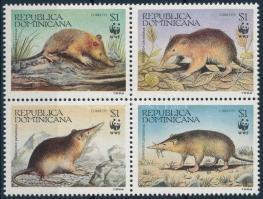 WWF Haiti rat swine block of 4 + block of 4 on FDC, WWF: Haiti patkányvakond négyestömb + négyestömb 4 FDC-n